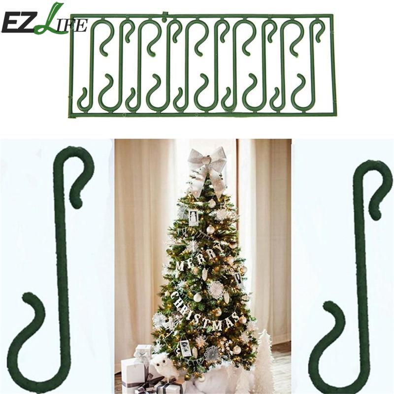 100pcs/lot Green S Shaped Hanging Hooks for Christmas Tree Decoration Wire Xmas Decoration Ornaments Supplies Xmas Decor ...