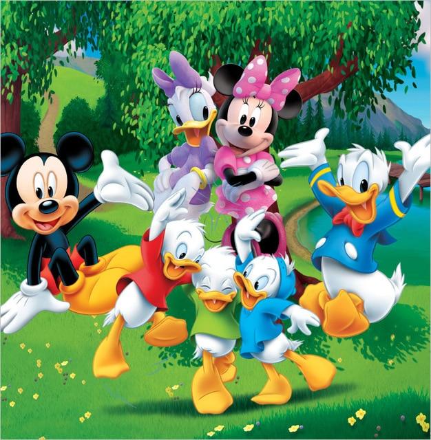 Minimouse Wallpaper: 8x8FT Donald Duck Friends Mickey Minnie Dance Green Trees