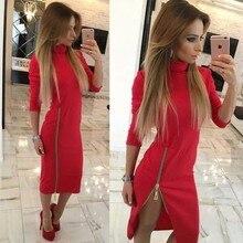 Hohe Qualität Rot Schwarz Khaki Long Sleeve Zipper Geöffnete Gabel Verband, Figurbetontes Kleid