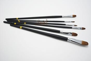 6 unids/set pelo de comadreja uña sape pincel para óleo fila pluma negro de madera de pintura de acuarela pluma arte suministros