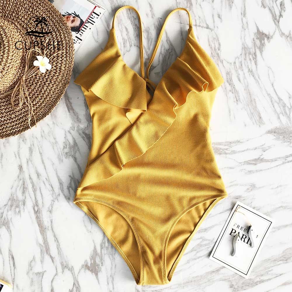 CUPSHE Happy end Gelb Feste einteiliges Badeanzug Falbala v-ausschnitt Rüschen Sexy Monokini 2019 Damen Strand Badeanzug bademode