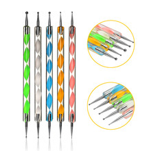 5Pcs Dual Head Nail Art Pen Dotting Tool Rhinestone Picker For Painting Attrezzi Per Unghie Nailart Pick Up Embossing Pens Set
