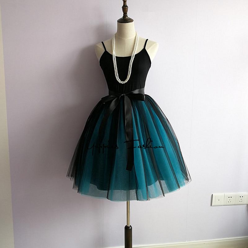 Real Photos! 7 Layers Fashion Tutu Tulle Skirt Knee Length Pleated Skirts Womens Wedding skirt Lolita Petticoat Saia Faldas Jupe