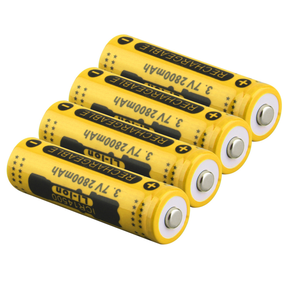 2017 New 4pcs 14500 3 7V 2800mAh Yellow Rechargeable Li ion Battery for LED Torch Flashlight