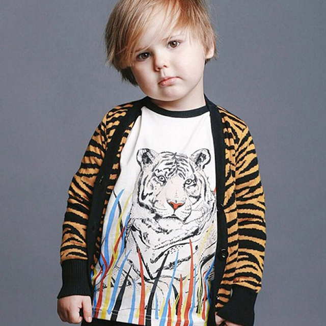 d9249eeeb97d 2016 Girls Sweater Children Sweater Single Breasted Leopard Print Baby Girl  Boy Sweaters Cotton Tiger Print
