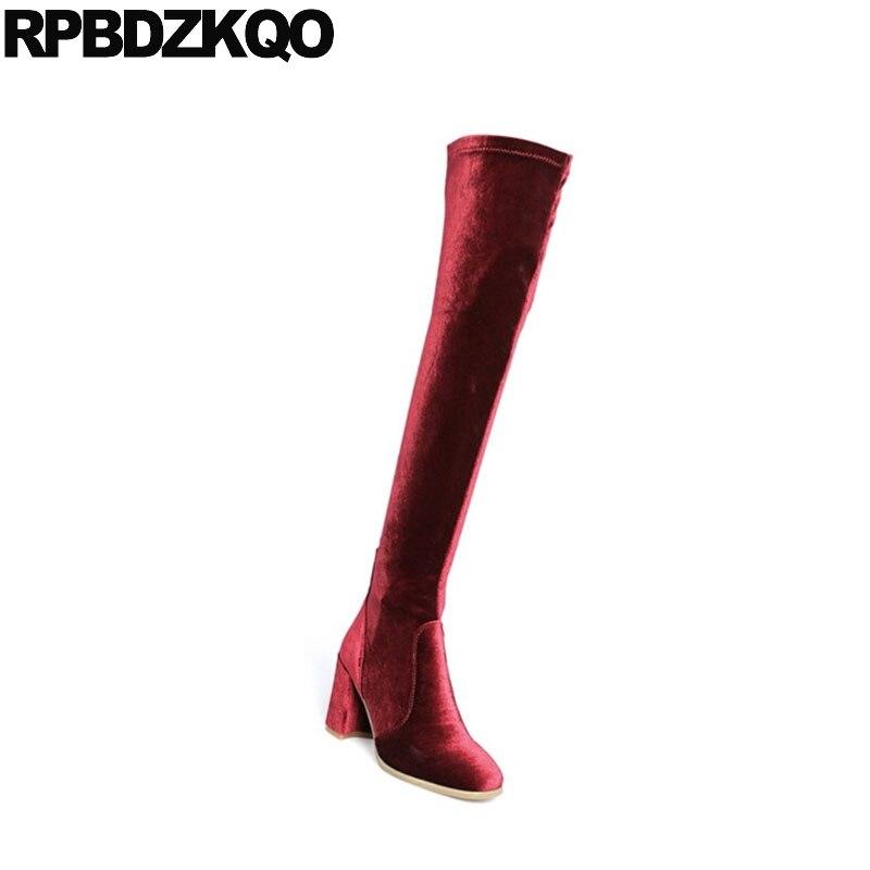 Rojo De Largo azul Grueso Terciopelo Negro Marca 2018 rosado Zapatos La Rodilla vino Mujeres Lujo Tinto Tacón Calidad Sobre Toe Vino Otoño Las Slim Botas Muslo Alto AwAqdC