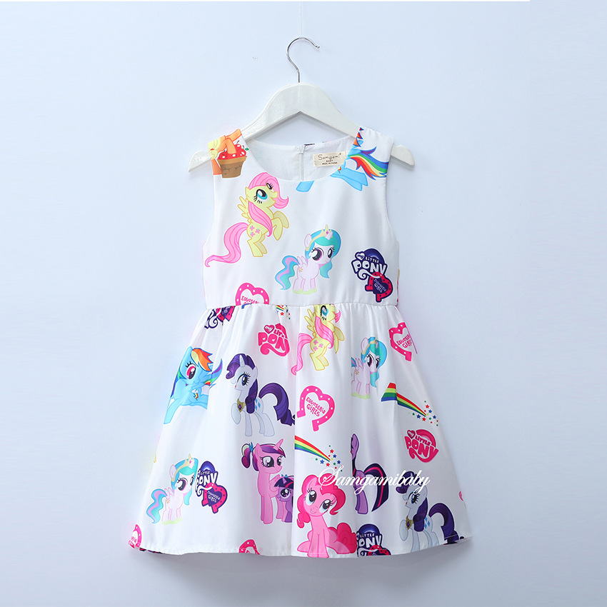 My Baby Girls Dresses Girls Little Pony Dress Cartoon Princess Costume Kids Clothes For 3-8Y Summer Style Children's Clothing