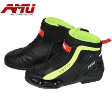 AMU Motorcycle Boots Microfiber Leather Motocross Men Moto Riding Shoes Protection Breathable