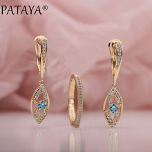 PATAYA New 585 Rose Gold Micro Wax Inlay Blue Natural Zircon Long Drop Earrings Luxury Rings Sets Women Wedding Party Jewelry(China)