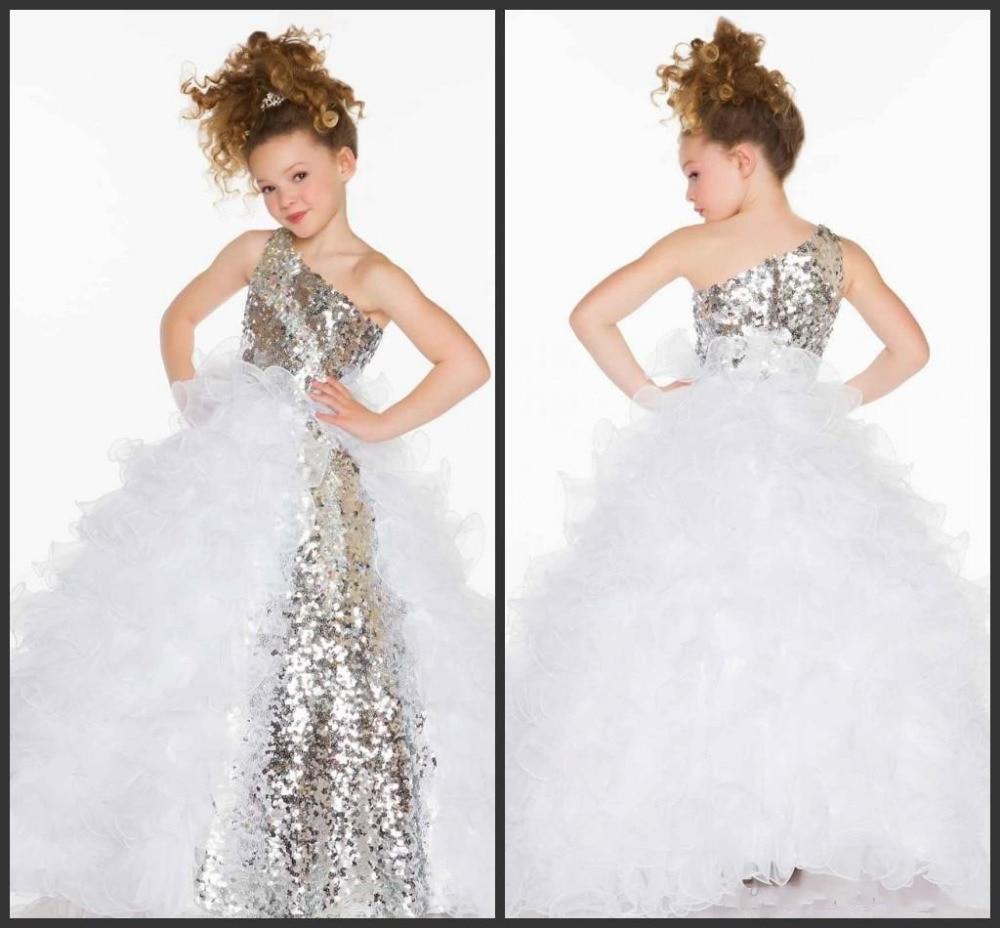 Hot Charming Sliver Sequins One Shoulder Ball Gown   Flower     Girl     Dresses   2019 Princess   Flower     Girl     Dress   vestidos de comunion 2019