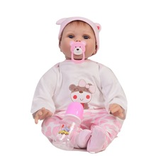 KEIUMI 22 55cm Soft Silicone Reborn Baby Doll Cloth Body Adorable Lifelike Rooted Mohair Newborn Doll For Kids Girls Playmate keiumi real 22 inch newborn baby doll cloth body realistic lovely baby doll toy for children s day kid christmas xmas gifts