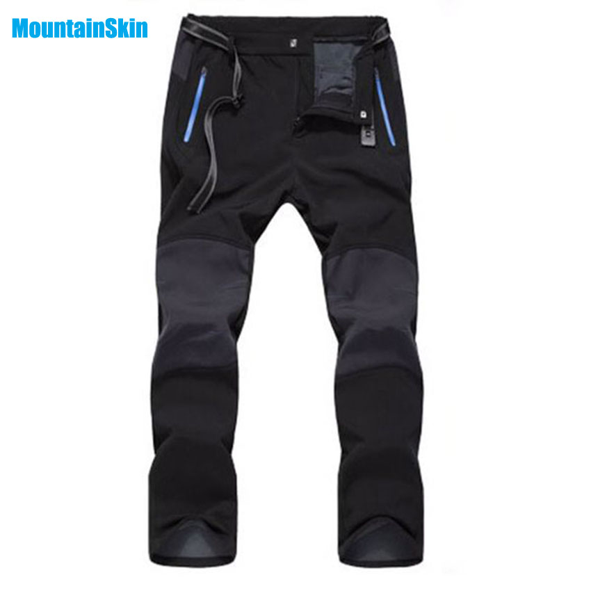 5XL 2017 Men Women's Winter Inner Fleece Softshell Pants Outdoor Sport Brand Hiking Skiing Trekking Climbing Male Trousers MA057 men plus size 4xl 5xl 6xl 7xl 8xl 9xl winter pant sport fleece lined softshell warm outdoor climbing snow soft shell pant