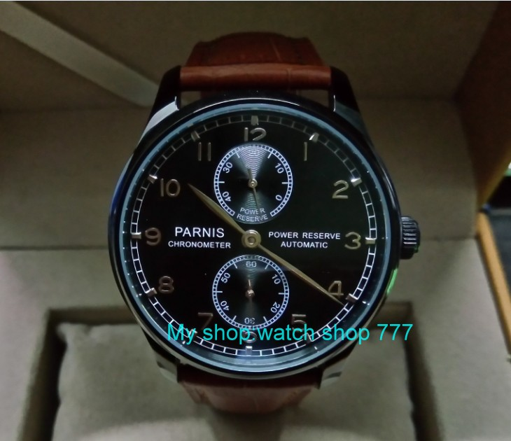 43mm PARNIS power reserve Automatic Self-Wind Mechanical movement men's watch Black dial PVD case Mechanical watches zdgd110a 43mm parnis black dial automatic self wind mechanical movement power reserve mechanical watches men s watch x00066