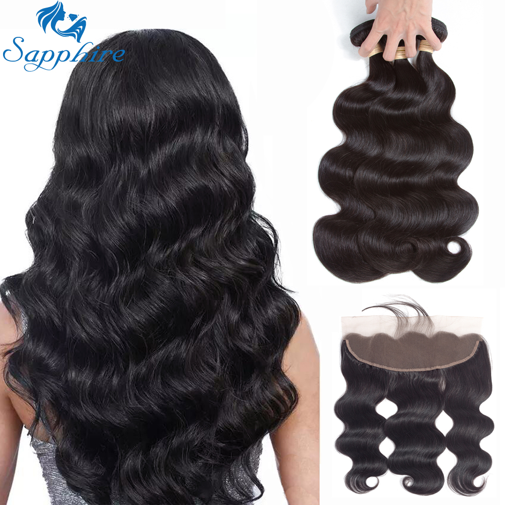 Sapphire Brazilian Body Wave Human Hair Weave Bundles With Lace Frontal Closure Human Hair 3 Bundles