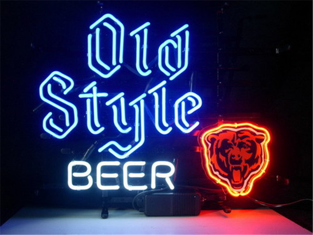 NEON SIGN For CHICAGO BEARS OLD STYLE Signboard REAL GLASS BEER BAR PUB  display christmas Light - NEON SIGN For CHICAGO BEARS OLD STYLE Signboard REAL GLASS BEER BAR