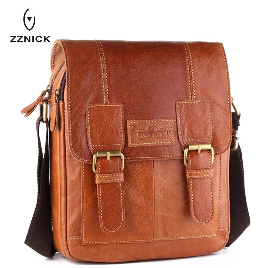 ФОТО ZZNICK 2017 New Genuine Leather Men Bag Small Shoulder Crossbody Bags Men Messenger Bag Men's Leather Casual Handbags Briefcase