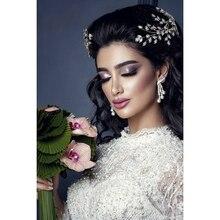 ティアラと王冠 hadiyana 新ファッション結婚式のヘアアクセサリー魅力的な高級女性のためのエレガントジルコン BC4860 accesorios mujer