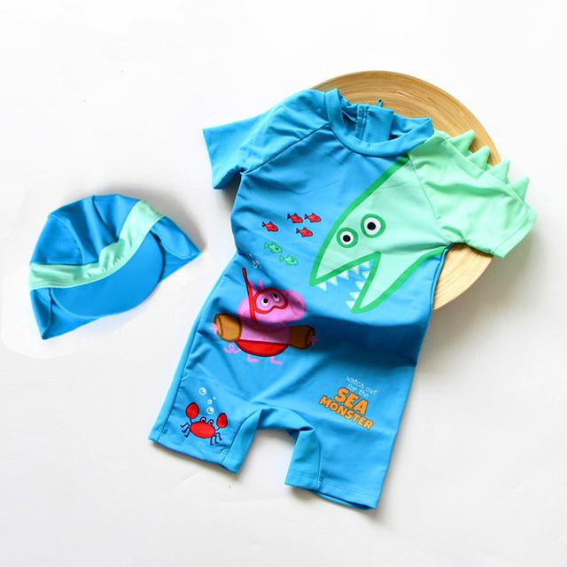 Bebé del traje de baño de Protección UV George dinosaurios Bebé Ropa de Playa de surf Traje de las muchachas de Una Sola Pieza del traje de Baño + sombreros Niños del traje de Baño
