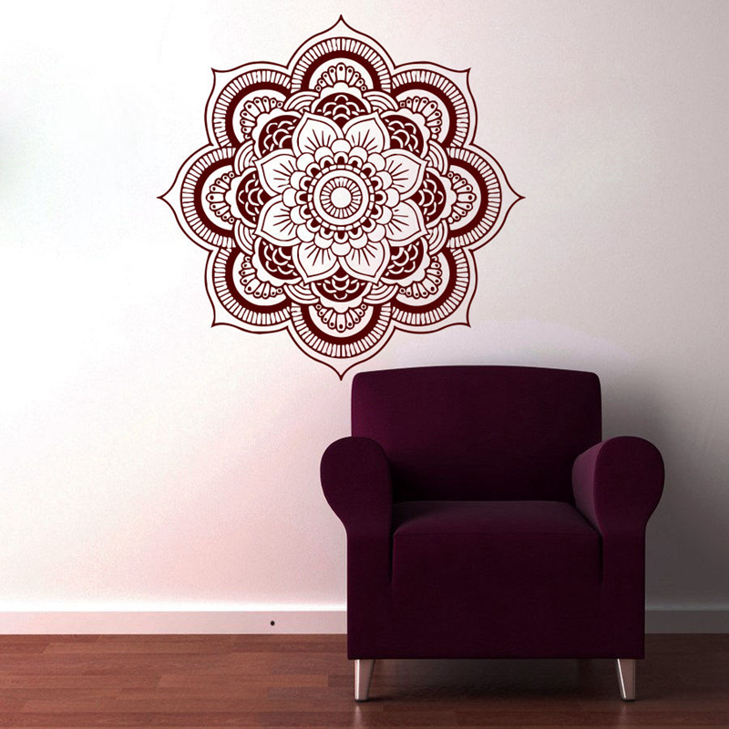 Dctal Hand Buddha Quotes Namaste Wall Decals Yoga Mandala Wall Stickers For Living Rooms Diy Home Decor Yoga Lotus Decoration Low Price Wall Stickers