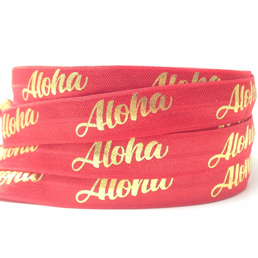 Good Quality 10 Yards Red Aloha Print Fold Over Elastic 5/8 Gold Foil FOE Hair Tie Ribbon for Bracelet Headband DIY Headwear