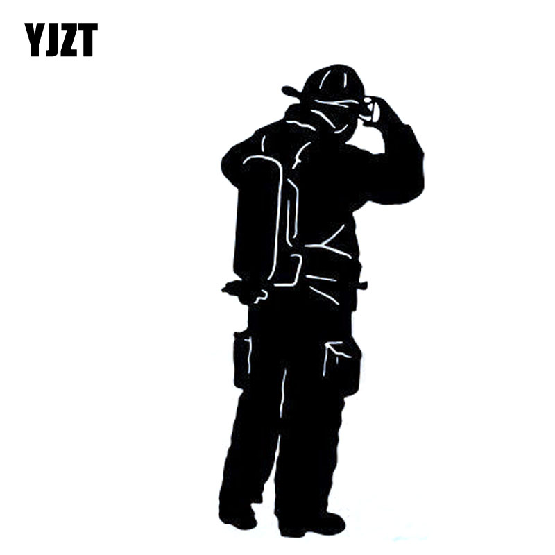 YJZT 6.5x15.3CM Interesting FIRE FIGHTER Fireman Vinyl Decal Car Window Sticker Car-styling Black/Silver S8-1338 hot sale 1pc longhorn hilux 900mm graphic vinyl sticker for toyota hilux decals badges detailing sticker car styling accessories