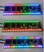 Rgb mcu padrão de exibição ajustável 24 led medidor indicador nível vu canal duplo