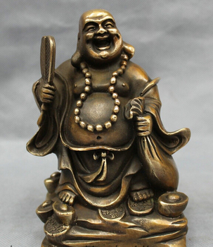 xd 002022 Chinese Bronze Wealth YuanBao Coin Bag Fan Happy Laughing Maitreya Buddha Statue