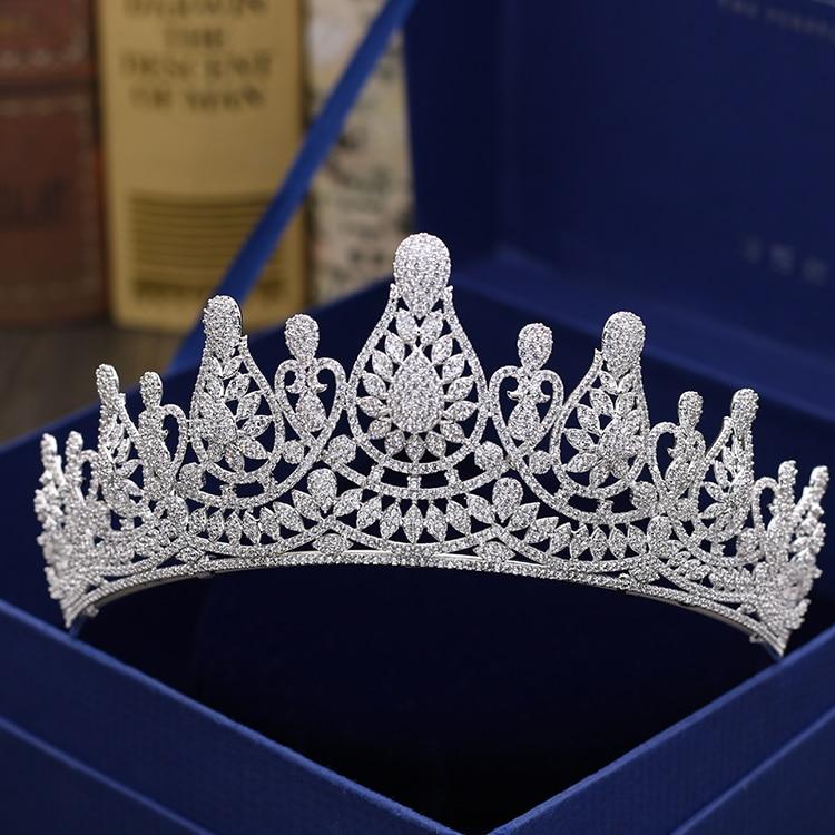 Fashion retro font b luxury b font popular crystal CZ zircon crown font b wedding b