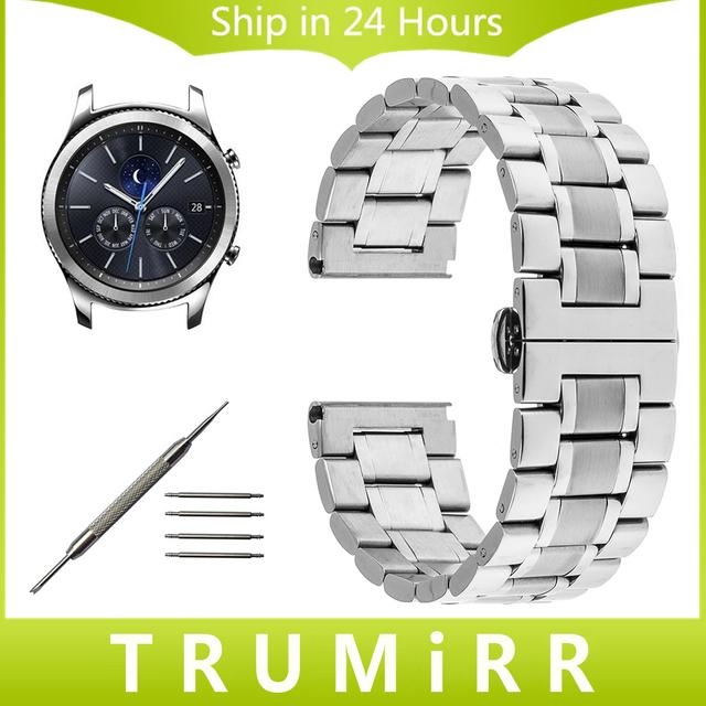 22mm pulseira de aço inoxidável borboleta fivela faixa de relógio cinta para samsung gear s3 clássico fronteira correia de pulso pulseira + ferramenta