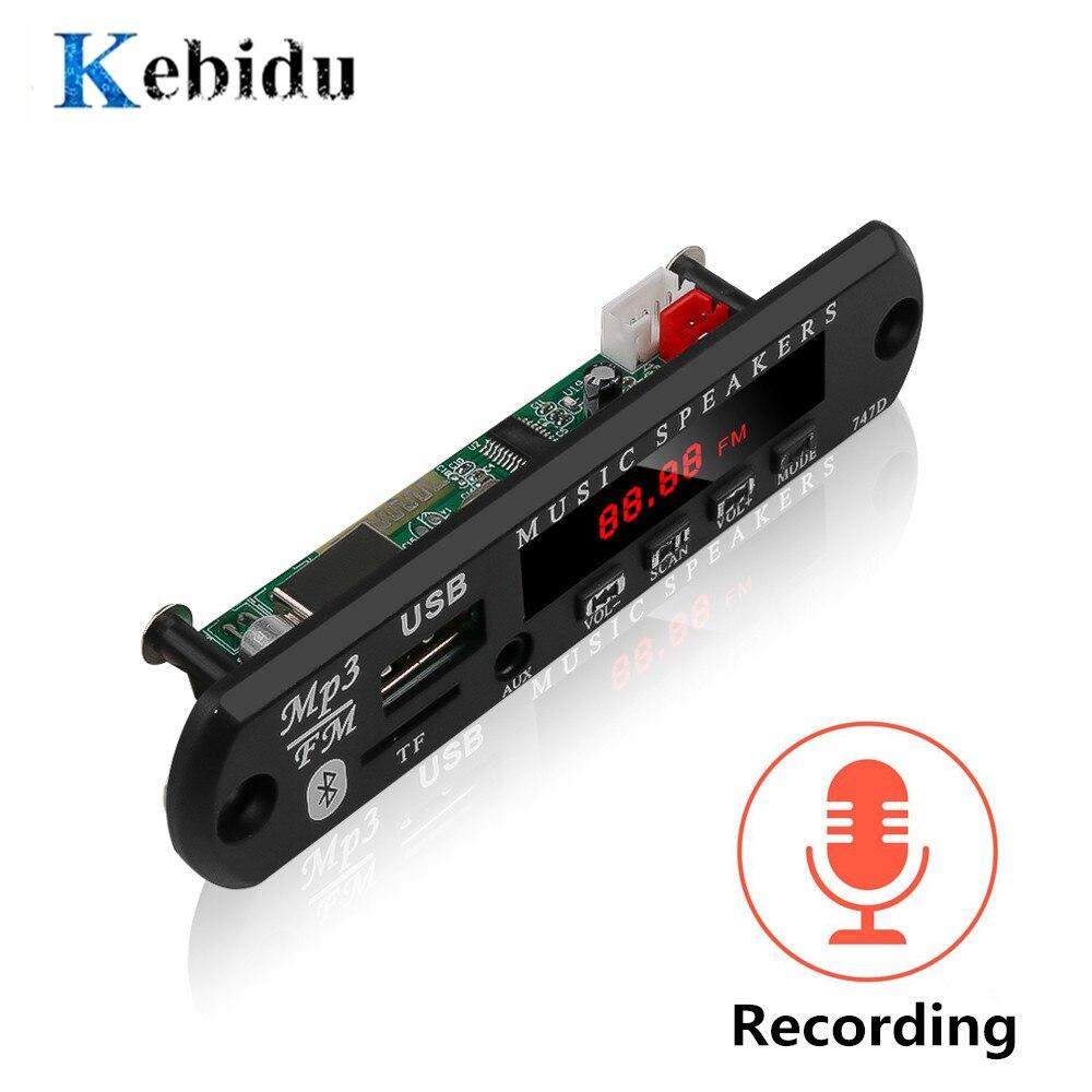 Плата декодера KEBIDU, модуль Bluetooth MP3 светодиодный 12 В DIY USB TF FM радио модуль беспроводной Bluetooth декодер запись mp3 плеер MP3-плееры      АлиЭкспресс