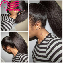 Kinky Straight Full Lace Wig Virgin Brazilian Human Hair Wigs  Kinky Straight Lace Front Wig For Black Women With Ponytail