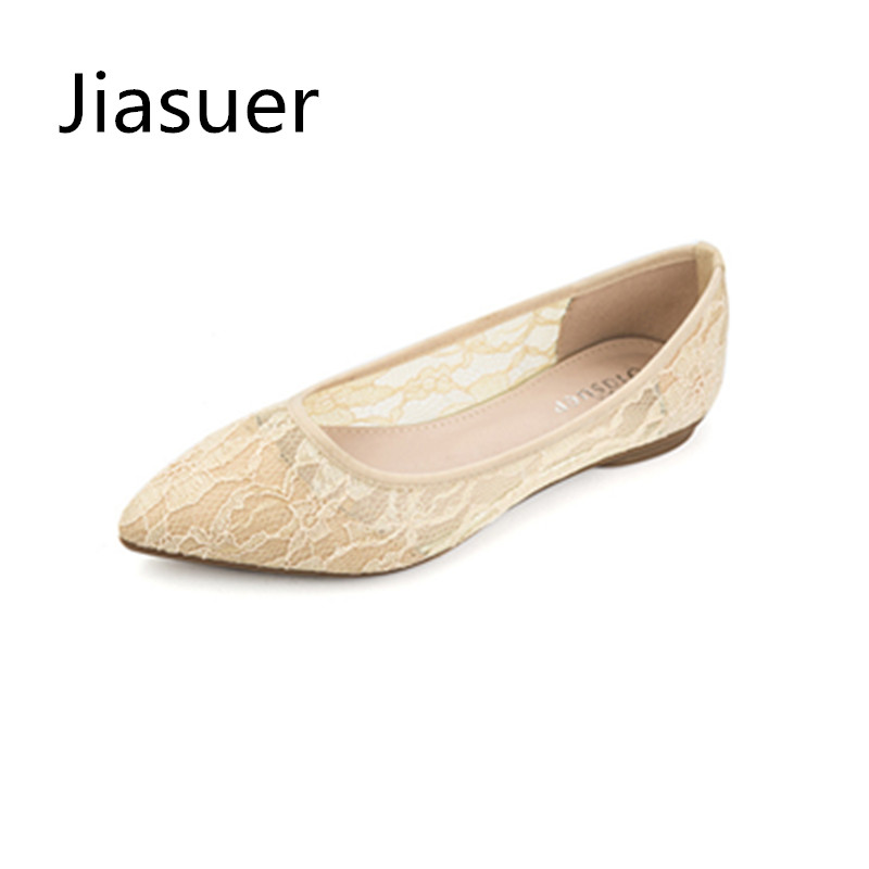 Jiasuer Spring/Summer Women Fashion Shoes Sandals Hollow out Lace Mesh Soft bottom Pointed Toe Flat Sandals Comfortable Flats odetina 2017 new summer women ankle strap ballet flats buckle hollow out flat shoes pointed toe ladies comfortable casual shoes