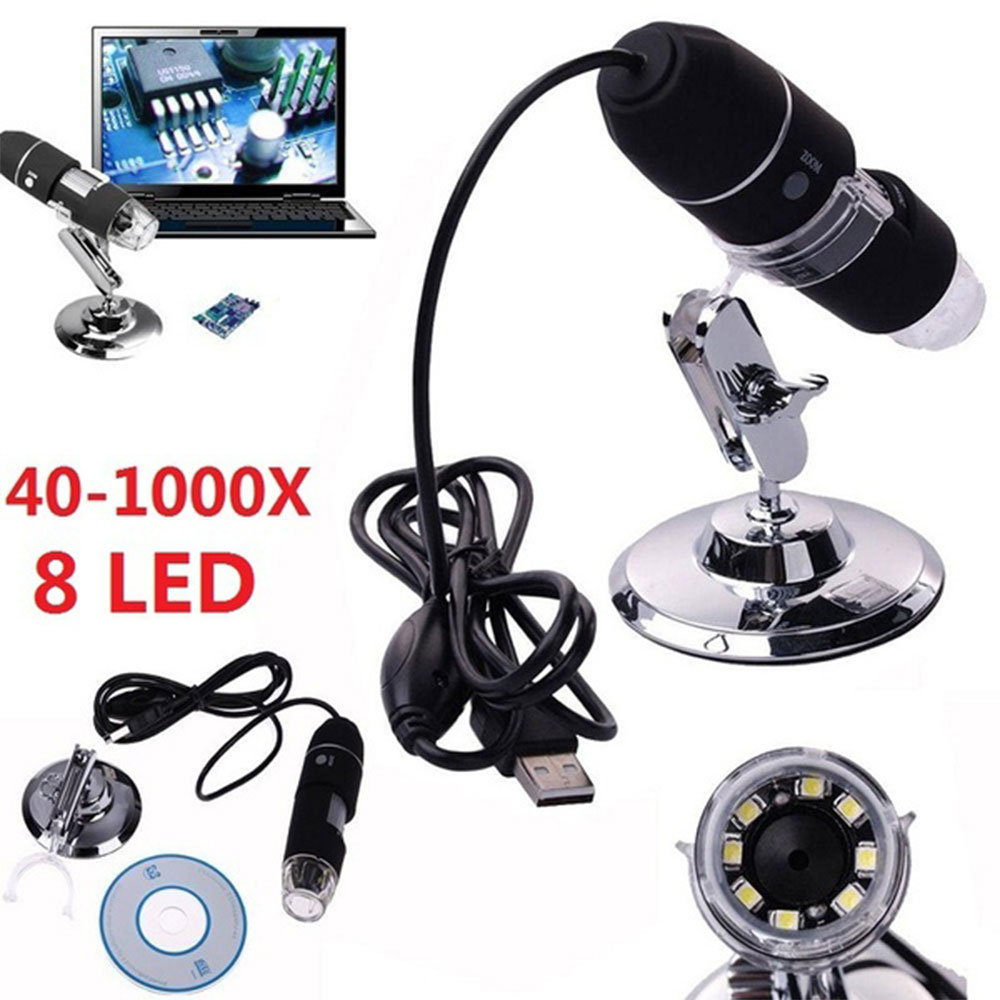 Microscopio Digital USB 2MP 1000X endoscopio Zoom Cámara lupa + dispositivo de soporte 8 LED endoscopio Cámara impermeable USB