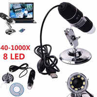 2MP USB Digital Microscope 1000X Endoscope Zoom Camera Magnifier+Stand Device 8 LED Microscopio Endoscope Camera Waterproof USB
