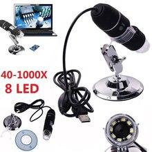 2MP USB Цифровые микроскопы 1000X эндоскопа Увеличить Камера лупа + подставка устройства
