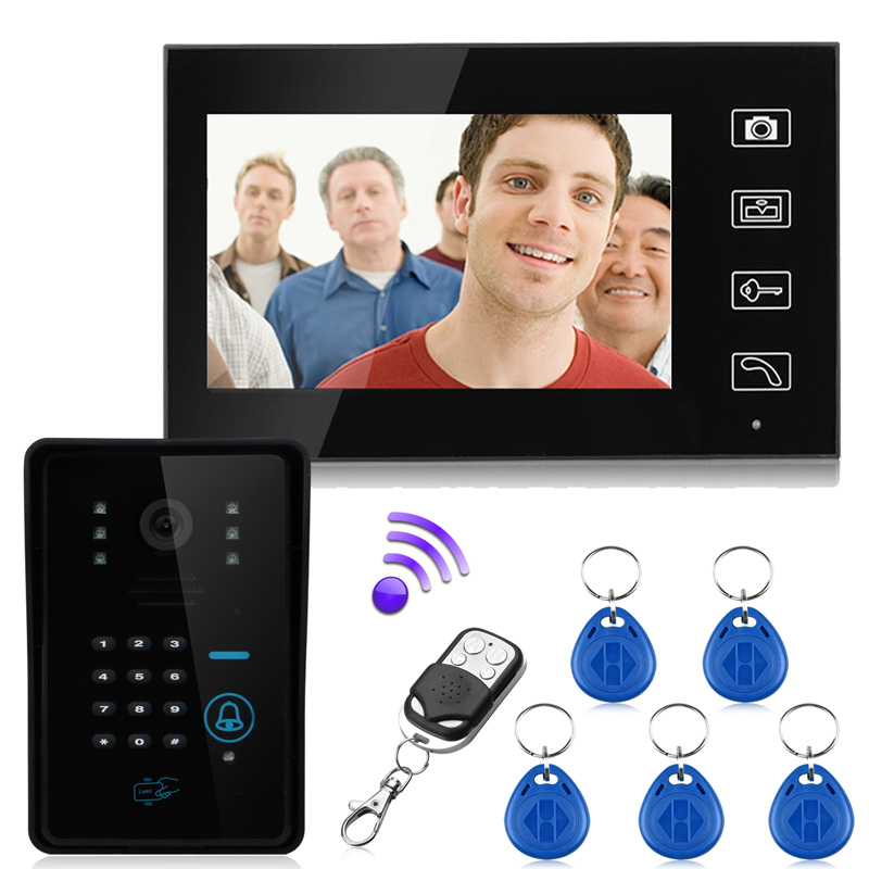 Battery Powered! Wireless 2.4G Color Video Door Phone Intercom System 7 Monitor and IR Night Camera with 125KHz RFID Card