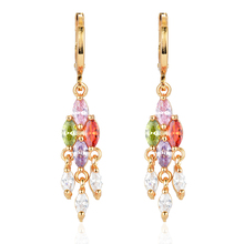 NEW Fashion Gold Color Drop Earrings Multi-color CZ Stones Women Girls Jewelry