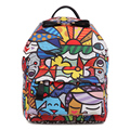 ROMERO BRITTO Cute Cartoon Backpacks 2017 New Arrive Women PU Printing Backpack Mochila Women Backpack Graffiti Unisex Rucksack