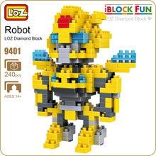 LOZ Blocos de Diamante Micro Figura Bricks Building Block Brinquedos Robô de Brinquedo Carro Amarelo Modelo DIY Montagem de Pixels Figura Dos Desenhos Animados 9401
