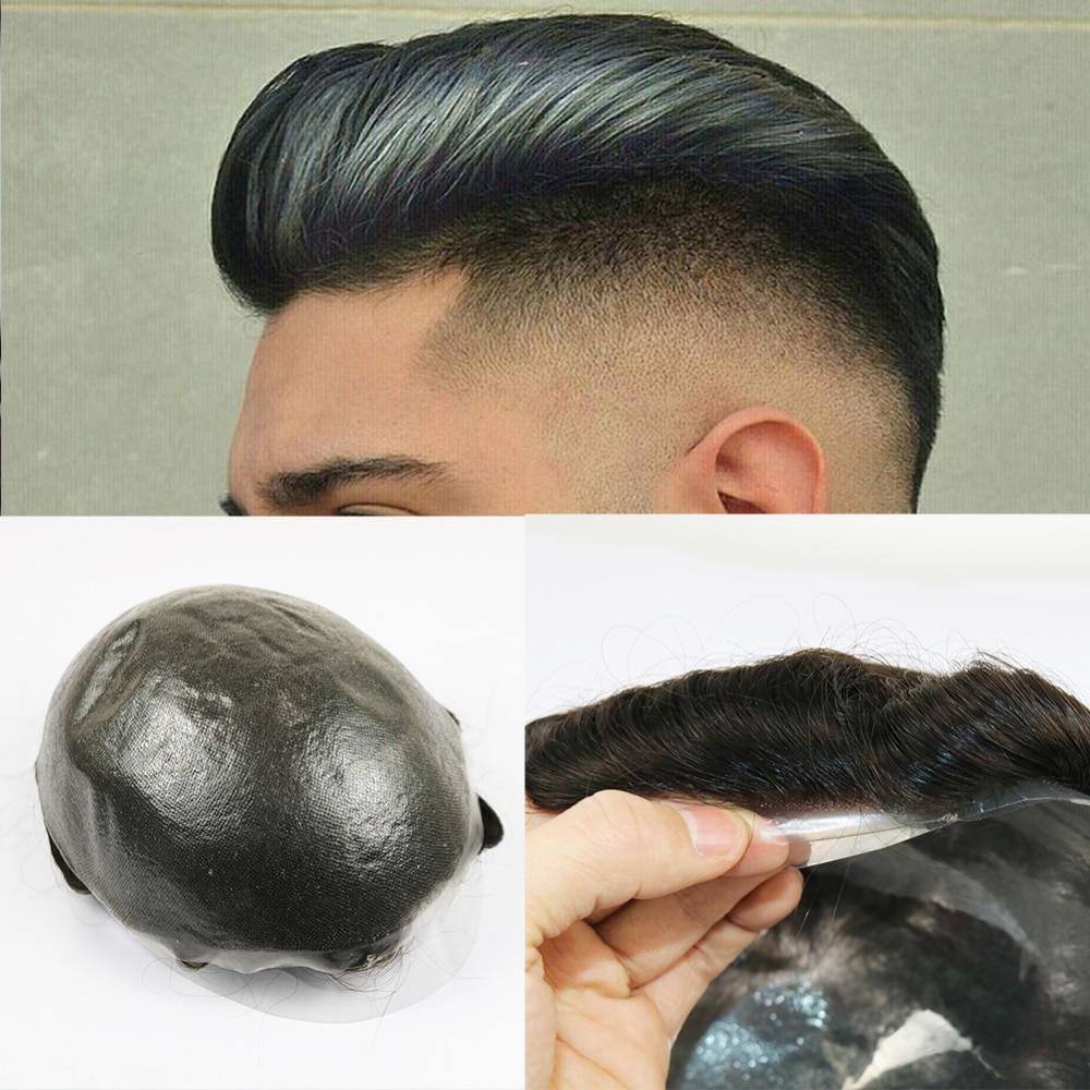 SimBeauty 8x10 Hair Replacement Wigs PU Hair Pieces Human Hair Medium Light Density Mens Toupee