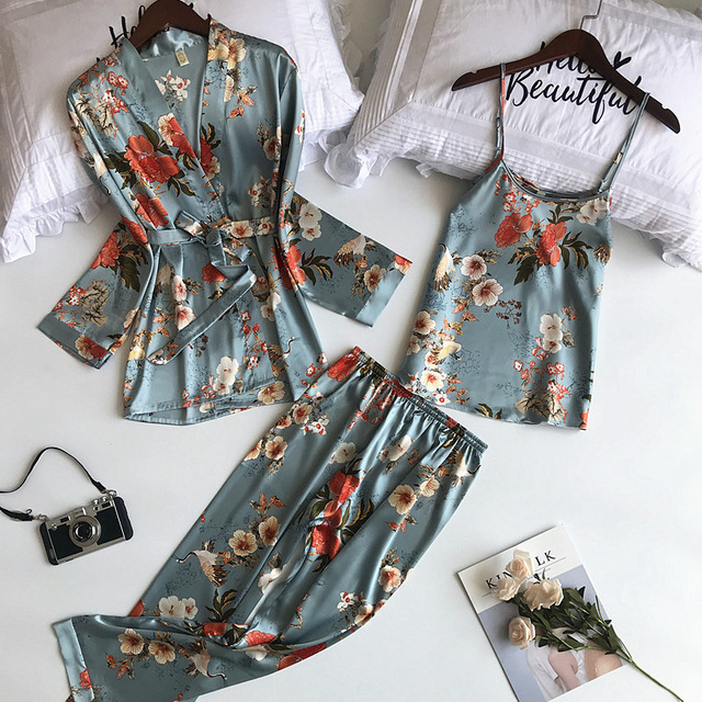 Daeyard 3 Pieces Silk Pajama Set Print Nightwear Pijama Home Suit Women Sexy Lingerie Pyjama Bride Robe Satin Kimono Floral Robe