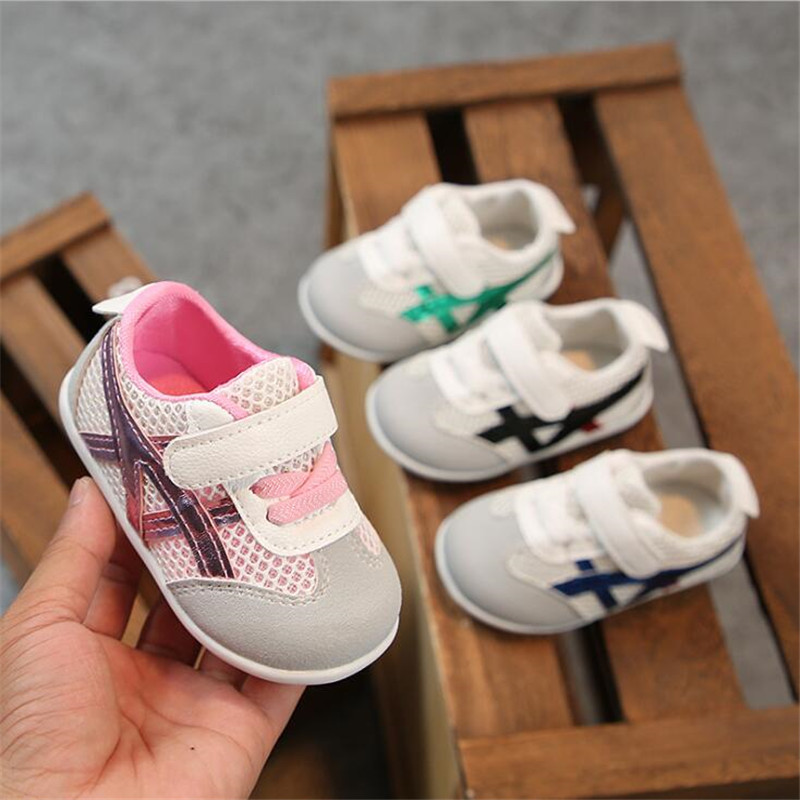 Spring Autumn Baby Girls Boys Casual Shoes Pachwork Air Mesh Toddler Shoes 4color 0-1.5years 15-19 8189 TX09