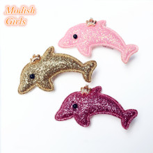 15pcs/lot Animals Cartoon Dolphin Glitter Felt Hair Clips for Baby Girls Hotsale Princess Barrettes Baby Pink Hairpin Gold Rose