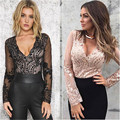 Mujeres Sexy Estilo de Manga Larga Con Lentejuelas Perspectiva gasa Top Body Ladies Lace Up Playsuit Mono 2 Colores de Moda