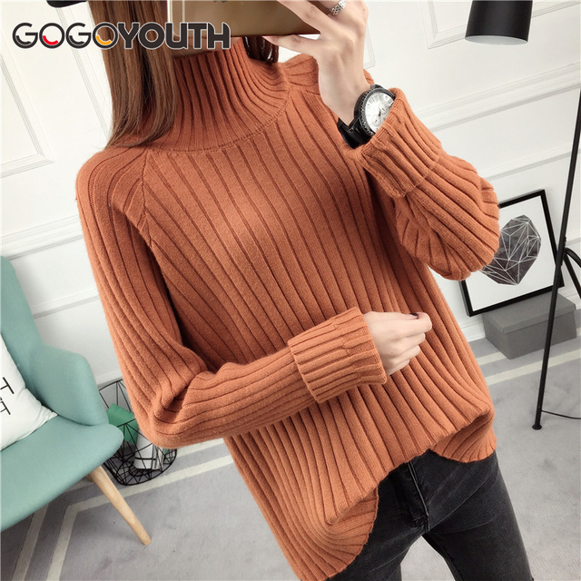 d780be70ae Gogoyouth 2018 Long Sleeve Autumn Winter Sweater Women Turtleneck Ladies  Pullover Female Tricot Jersey Jumper Tops