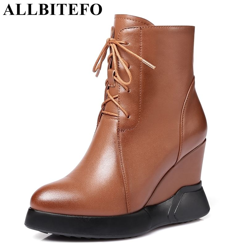 ALLBITEFO fashion brand genuine leather wedges heel platform women boots high heels ankle boots winter girls motorcycle boots xiangban handmade vintage motorcycle boots women high heels platform boots square heel genuine leather