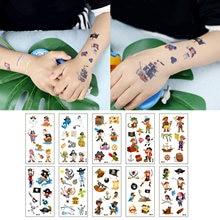 Behogar 10 folhas tema pirata festa temporária tatuagem etiqueta para crianças tatouage corpo arte à prova dwaterproof água temporária tatuagem adesivo