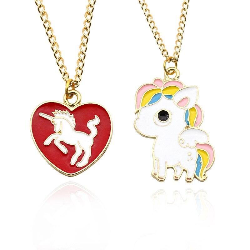 Zhini Diy Cute Unicorn Necklace Love Heart Chain Pendant