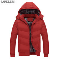 New Trend Red Winter Hooded Jacket Men 2018 Brand New Cotton Padded Park Homme Hat Detachable Fashion Mens Coats Jackets Outwear