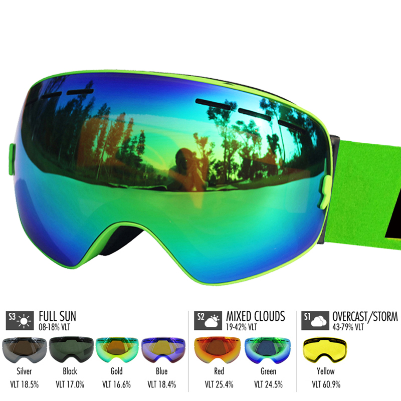 LOCLE Ski Goggles Double Lens Anti-fog UV 400 Ski Glasses Men Women Skiing Snowboard Skateboard Snow Goggles Ski Mask